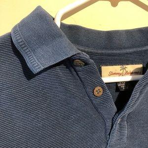 Tommy Bahama Shirts - Tommy Bahama ribbed navy long sleeve polo shirt